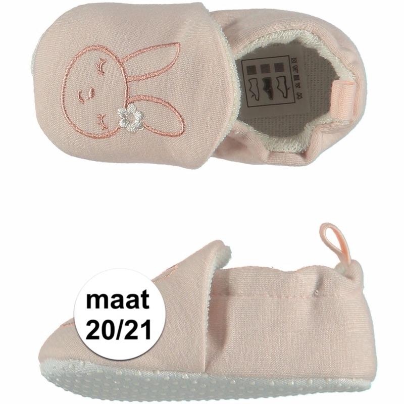 Geboorte kado meisjes baby slofjes met konijntje maat 20/21