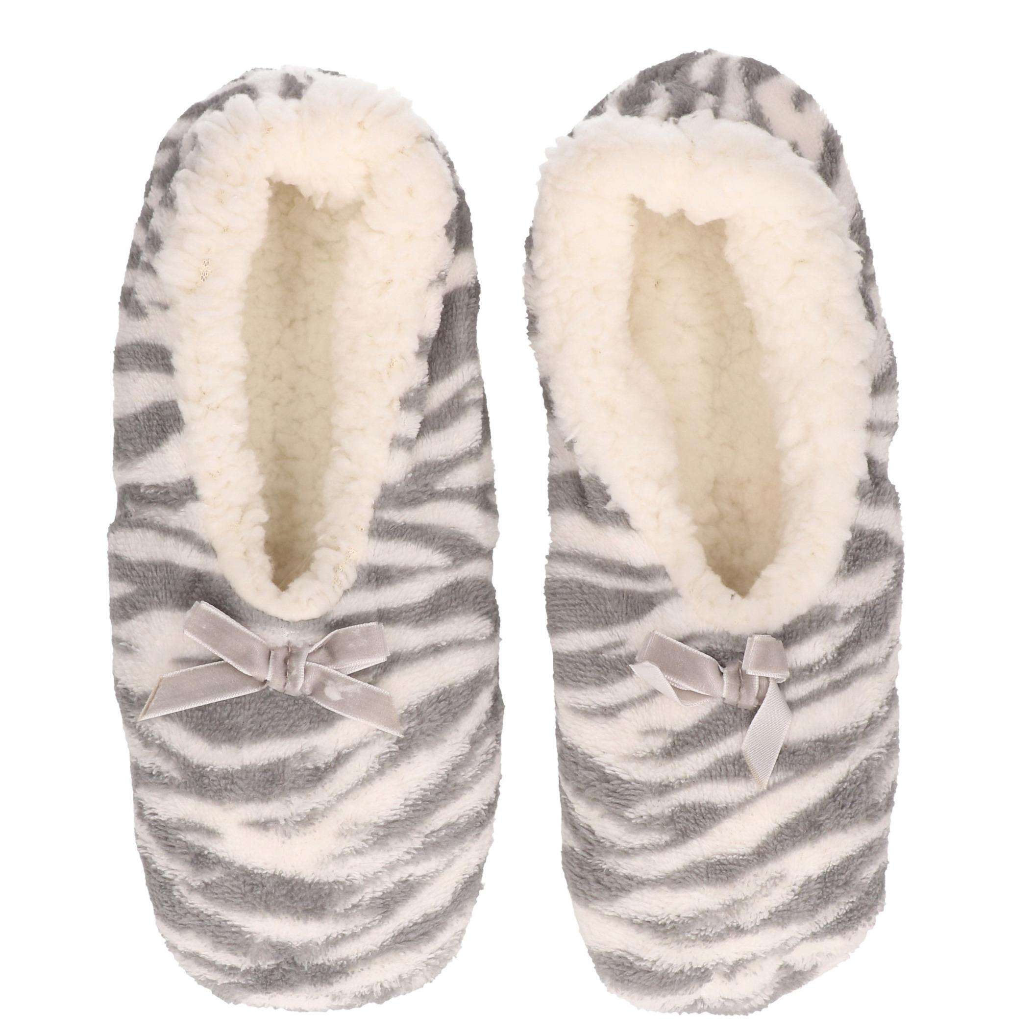 Grijze zebra print ballerina pantoffels/sloffen voor dames