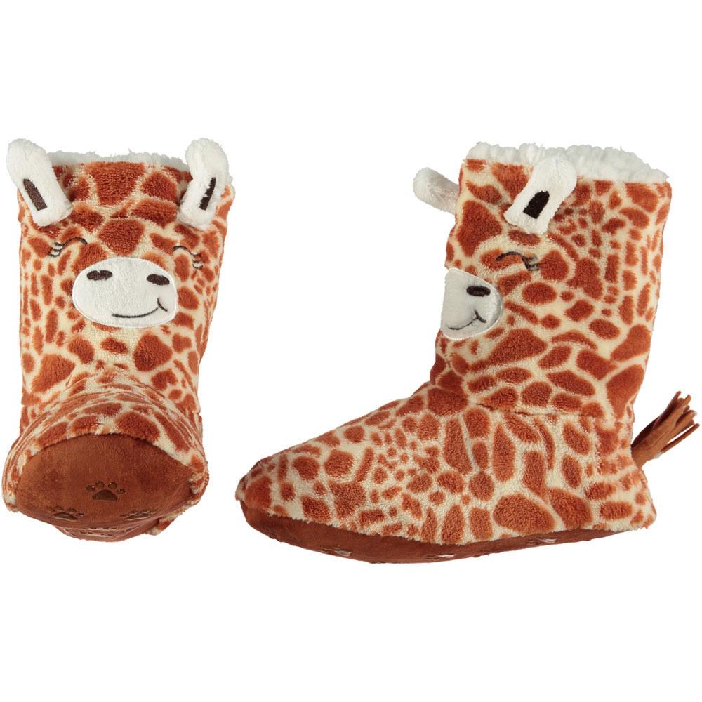 Hoge beige/bruine giraffe pantoffels/sloffen voor dames