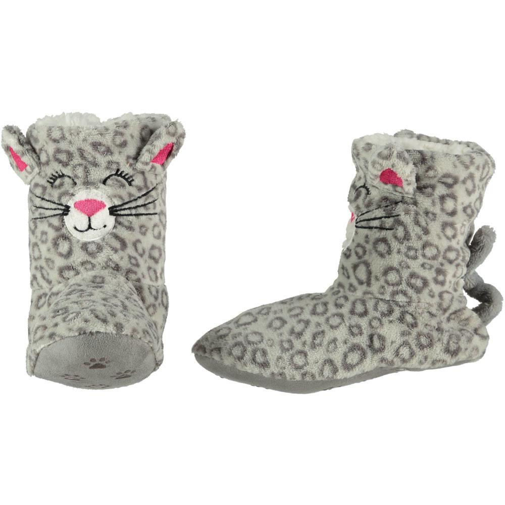 Hoge grijze panter/luipaard pantoffels/sloffen voor dames