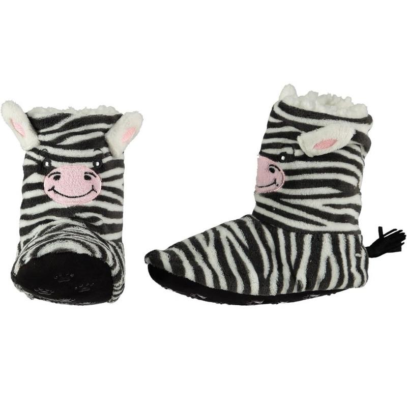 Hoge huispantoffels/sloffen zebrapaarden voor kinderen
