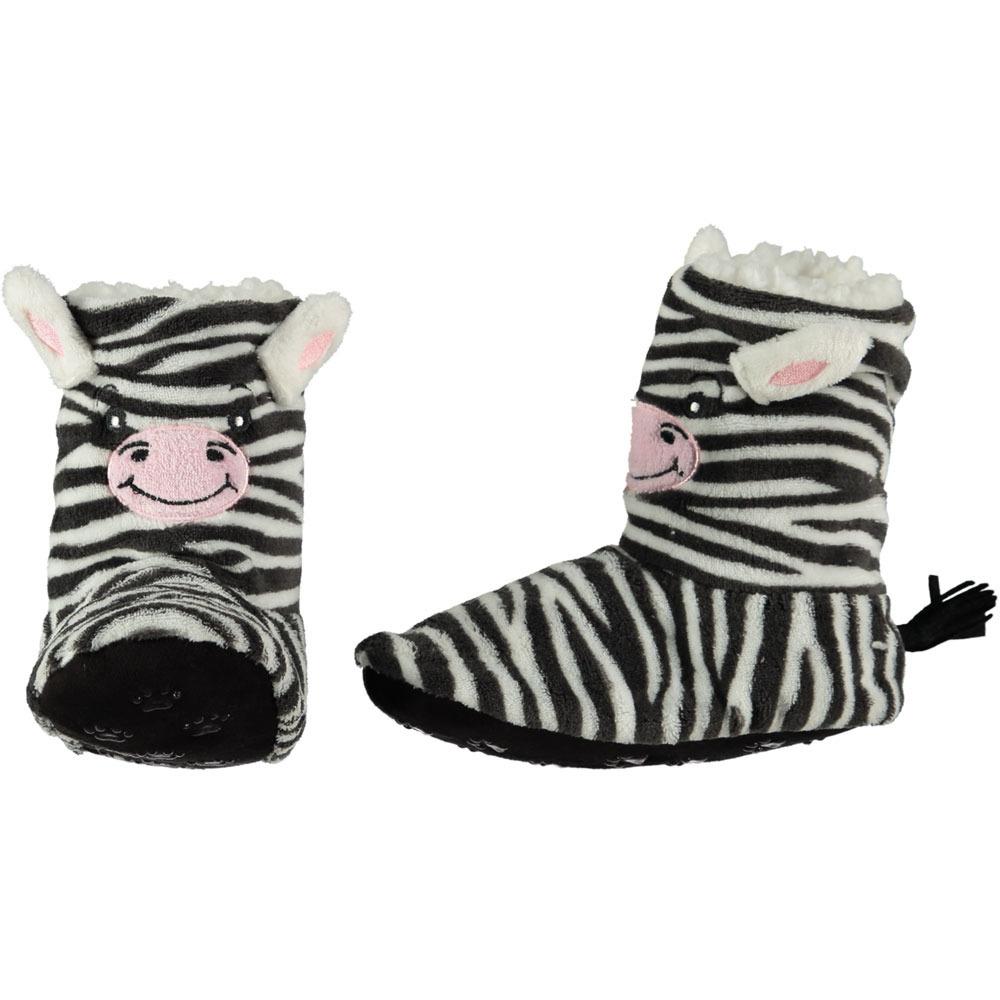 Hoge zwarte/witte zebra pantoffels/sloffen voor meisjes