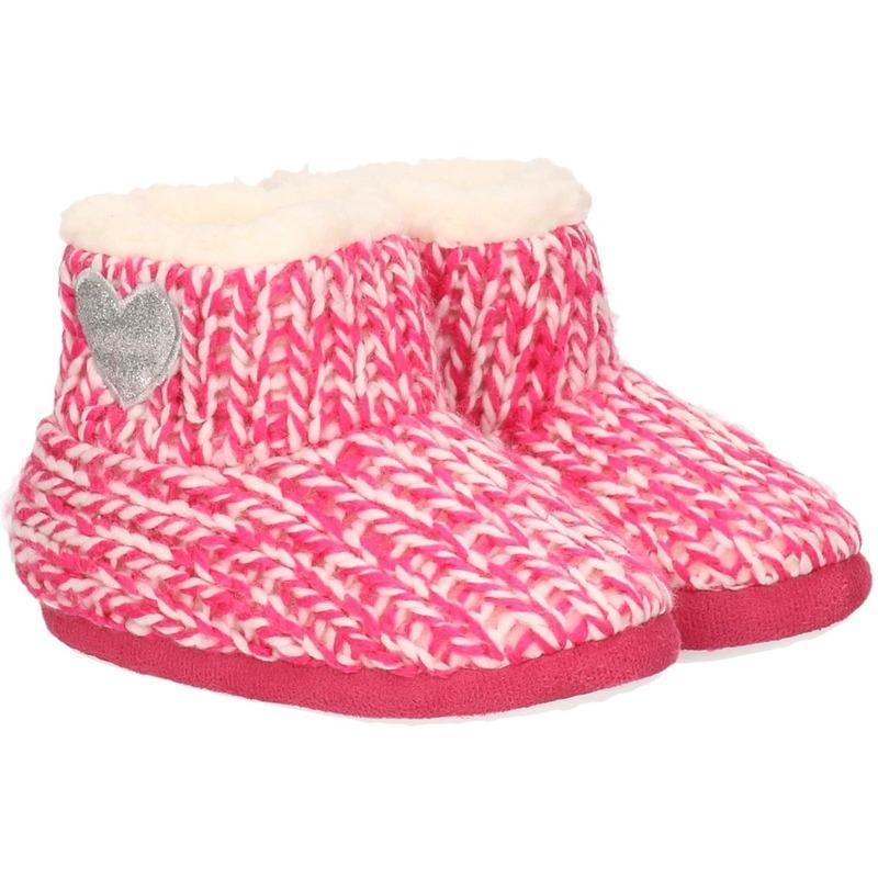Kinder huis boots grof gebreid roze maat 23-24