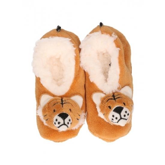 Kinder tijger pantoffels bruin