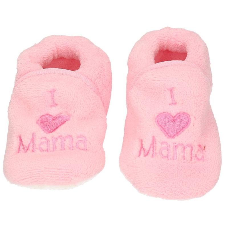 Kraamcadeau lichtroze babyslofjes/pantoffels love mama