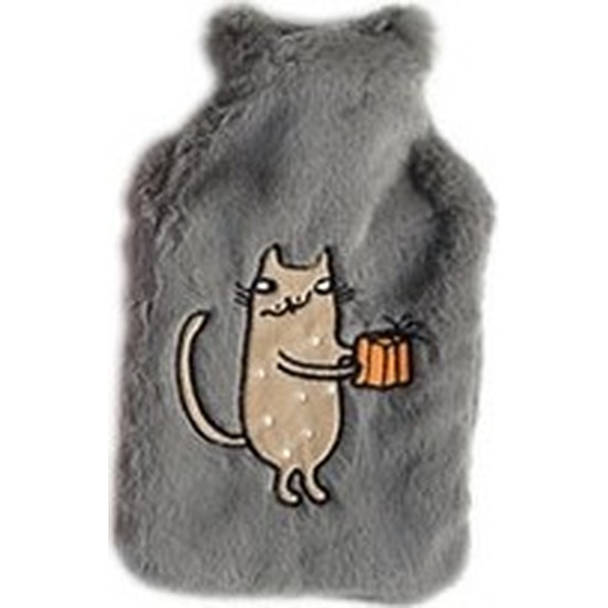 Lichtgrijze pluche kruiken 2 liter met katje/poesje/kater borduursel 2 liter