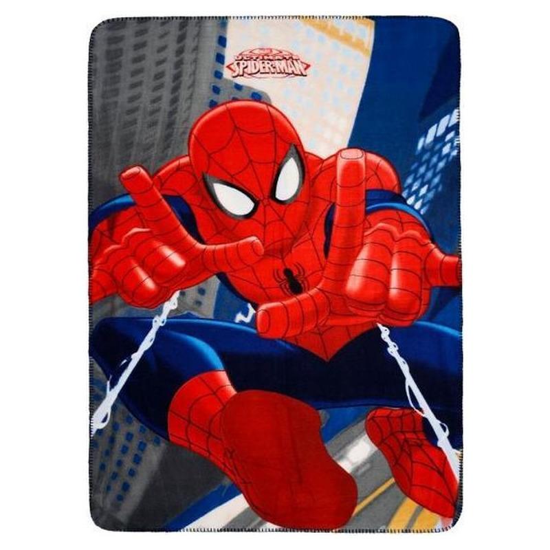 Marvel Spiderman fleecedeken/plaid blauw 100 x 140 cm
