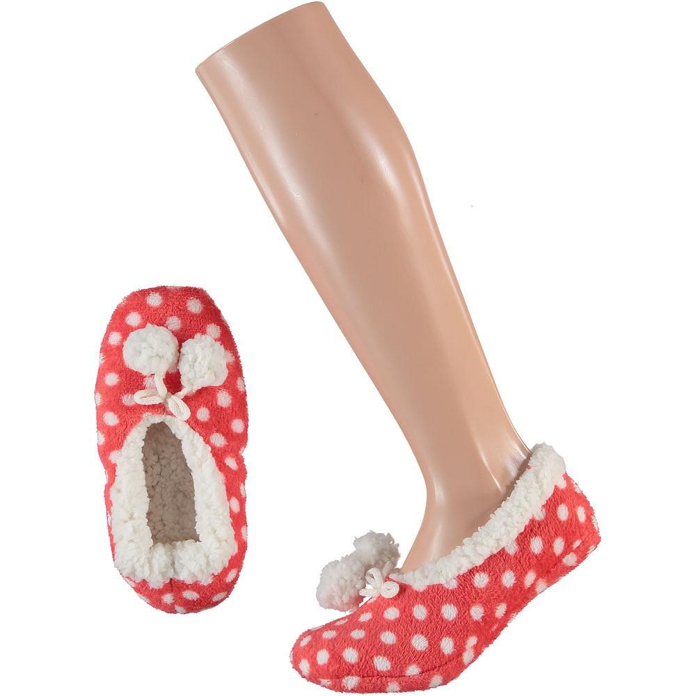 Meisjes ballerina sloffen/pantoffels roze met witte stippen maat 28/30