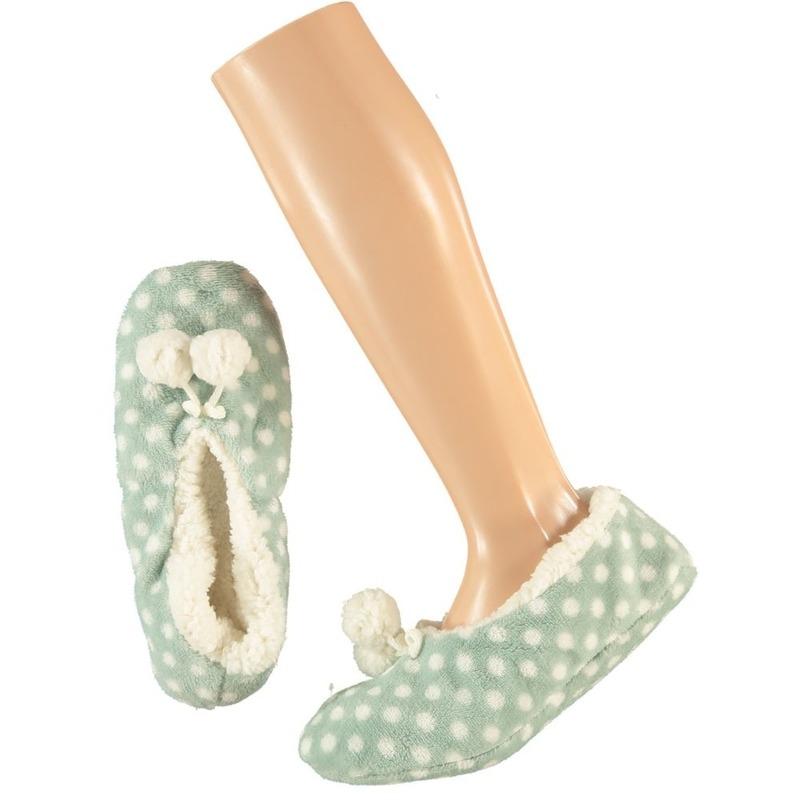 Mintgroene ballerina huispantoffels/sloffen stipjes print voor meisjes maat 28-30