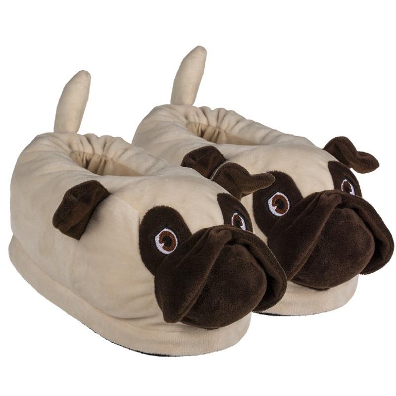 Mopshond sloffen/pantoffels voor volwassenen