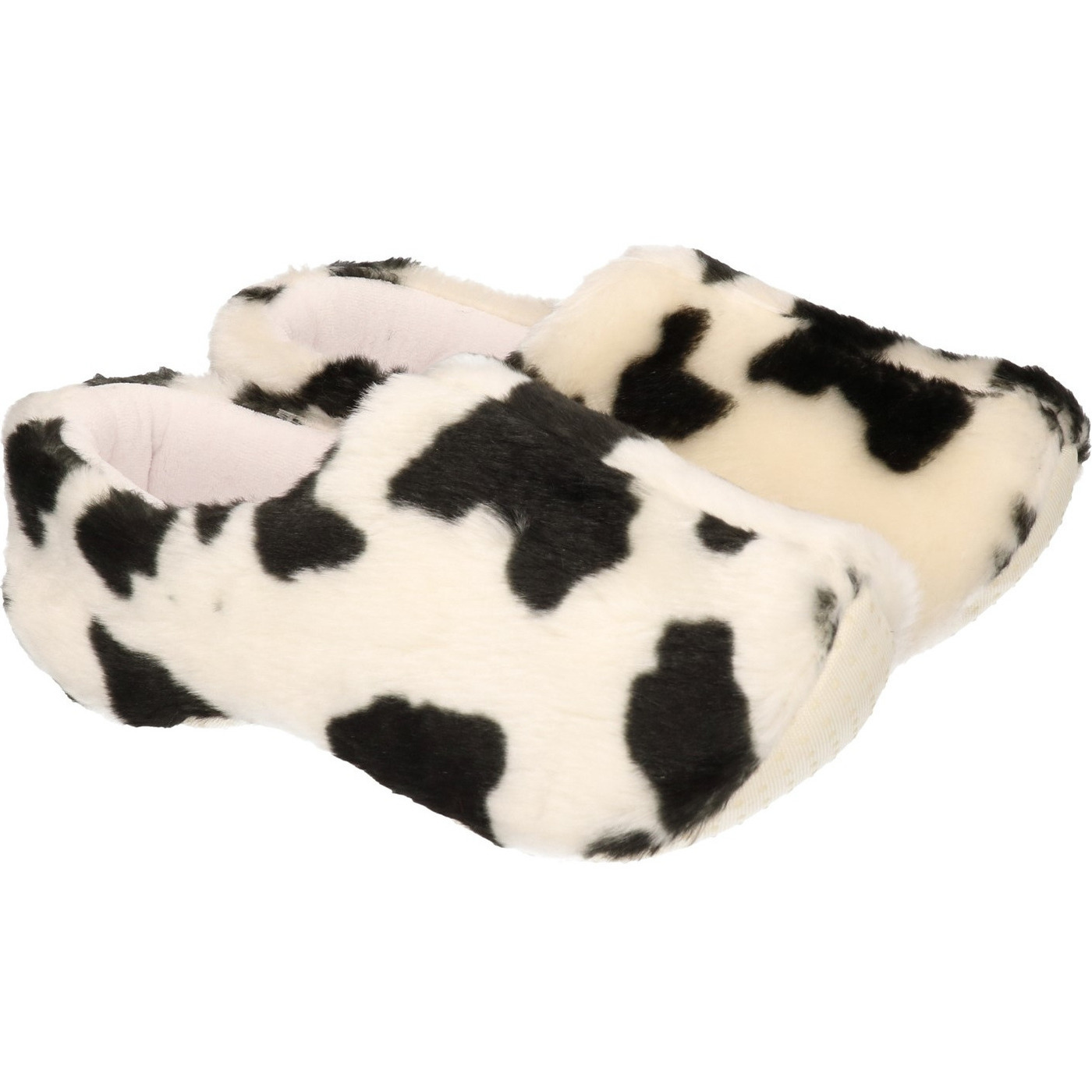 Pluche klompen pantoffels/sloffen met koeien print voor dames/volwassenen