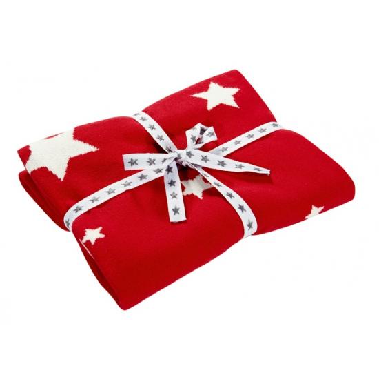 Rode kinder deken met sterren 80 x 80 cm