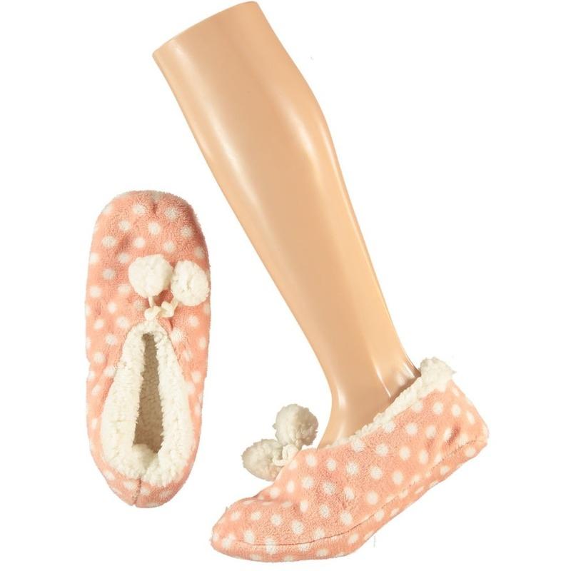 Roze ballerina huispantoffels/sloffen stipjes print voor dames maat 40-42