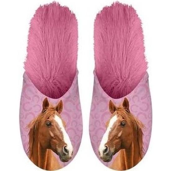 Roze/bruine paardjes instap sloffen/pantoffels voor volwassenen