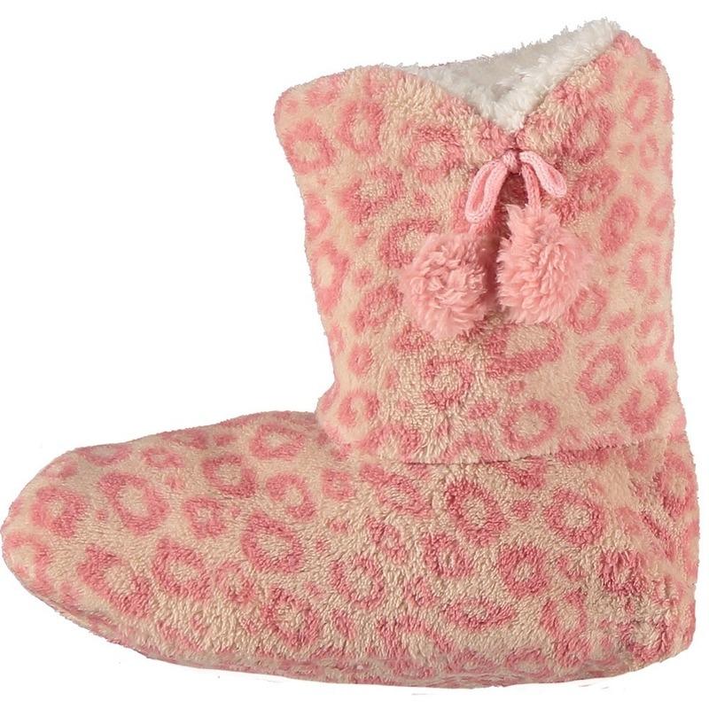 Roze hoge huispantoffels/sloffen panterprint voor dames
