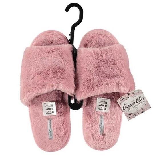 Roze instapsloffen/pantoffels met bont voor dames