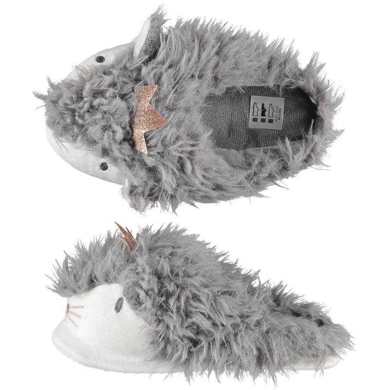 Sloffen/pantoffels instappers grijze alpaca voor dames