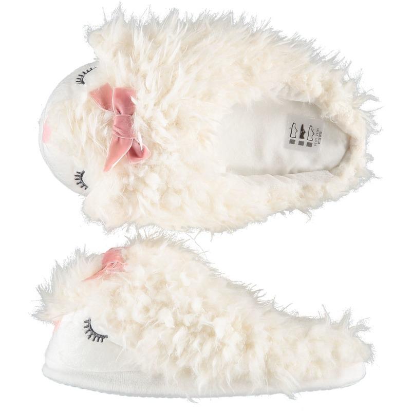 Sloffen/pantoffels instappers witte alpaca voor dames
