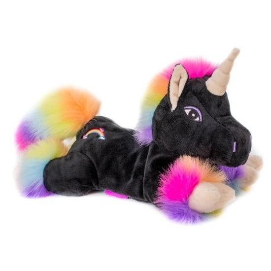 Warm knuffel zwarte eenhoorn met vleugels babyshower kado 18 cm