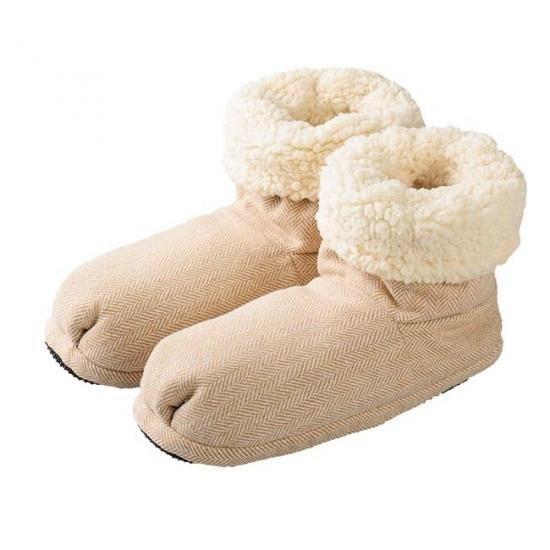 Warme damessloffen beige visgraatmotief