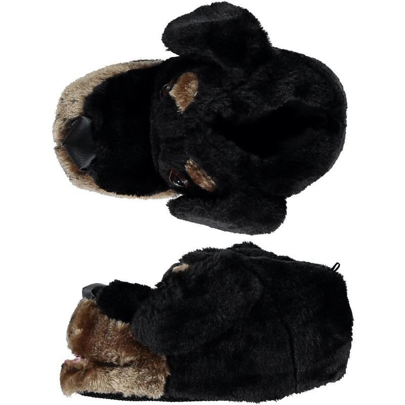 Warme sloffen/pantoffels hondenkop voor dames