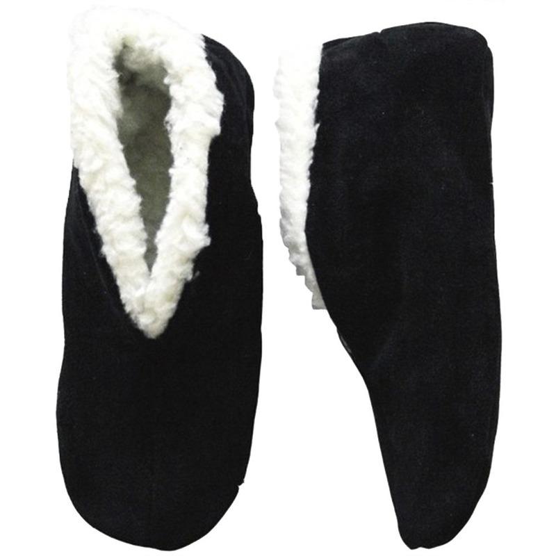 Warme wollen zwarte Spaanse sloffen/pantoffels voor dames/heren/volwassenen