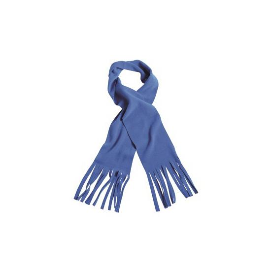 Winter fleece sjaal met franjes kobalt