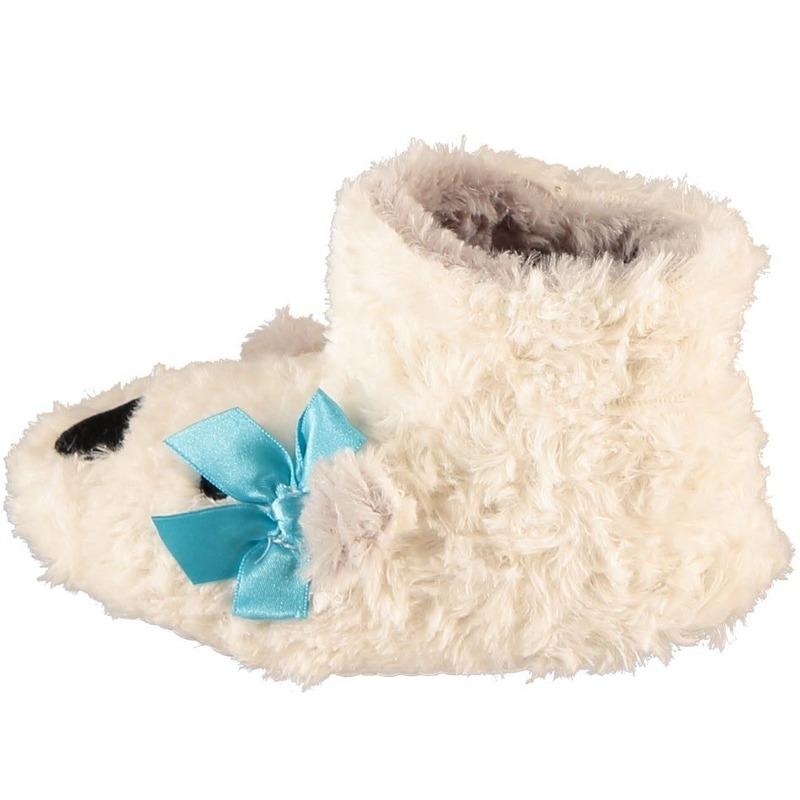 Witte hoge huispantoffels/sloffen ijsberen voor meisjes/peuters