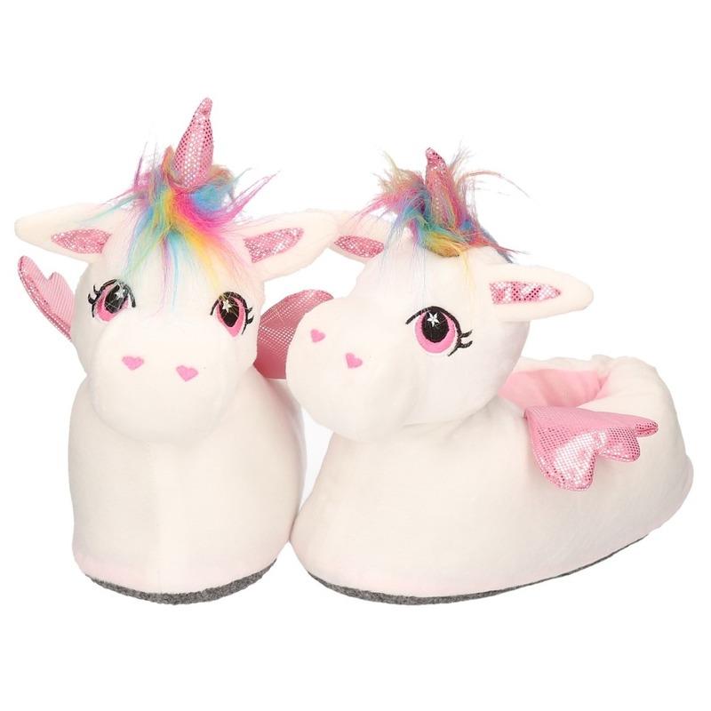 Witte/roze eenhoorns sloffen/pantoffels hoog model voor dames