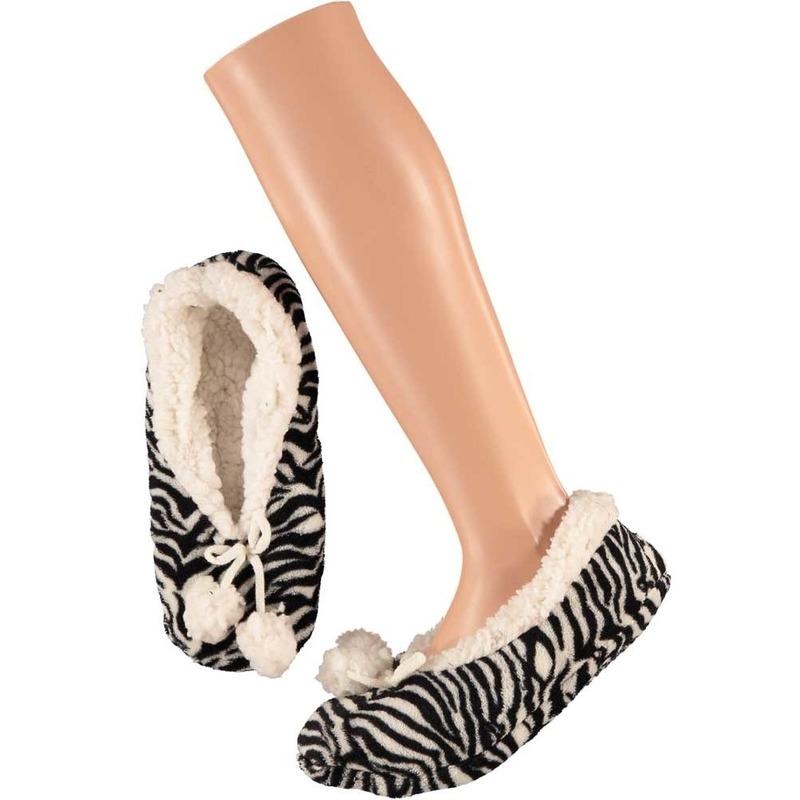 Zwart/witte ballerina huispantoffels/sloffen zebraprint voor dames maat 37-39