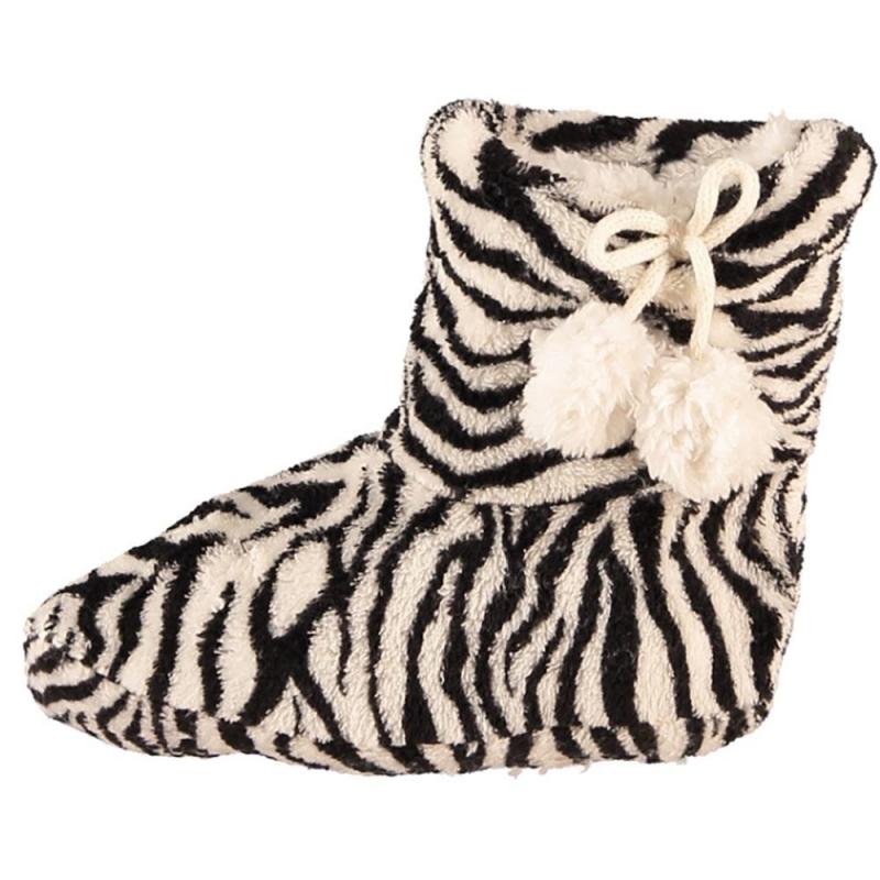 Zwart/witte zebra print meisjes pantoffels