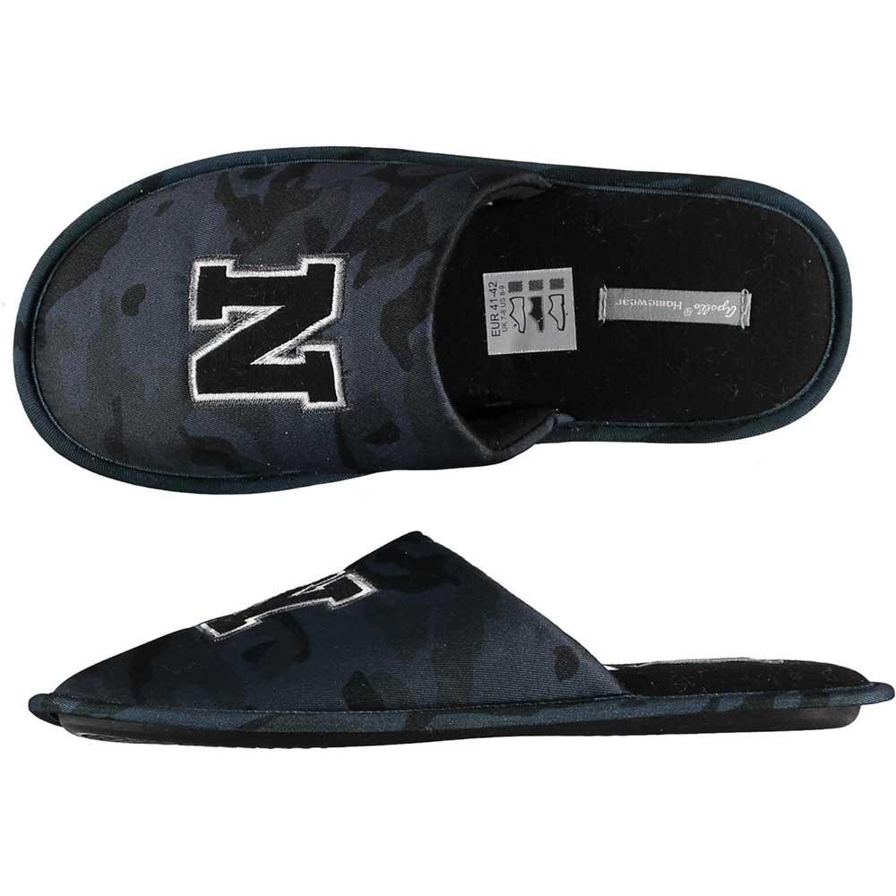 Zwarte/grijze camouflage instap pantoffels/sloffen voor heren