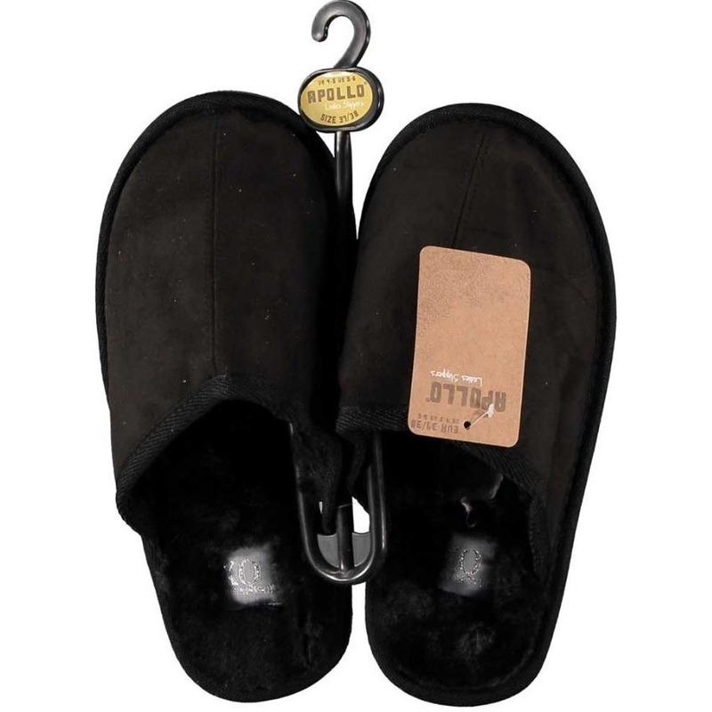 Zwarte instapsloffen/pantoffels met bont voor dames