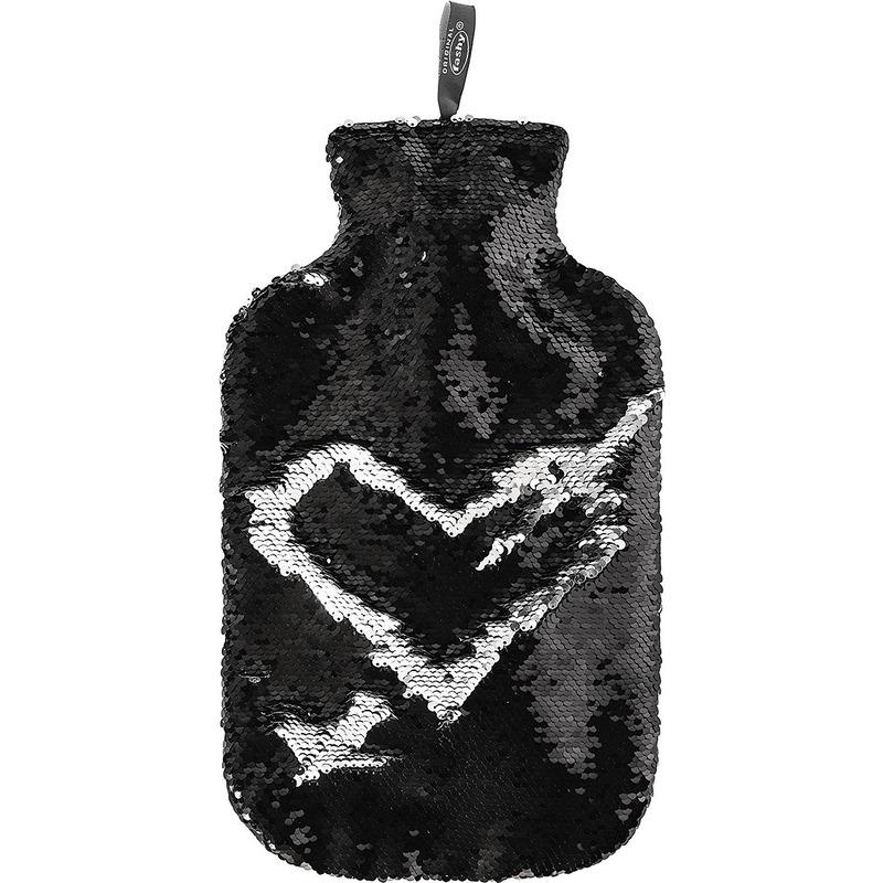 Zwarte/zilveren kruiken 2 liter met glitter pailletten hoes 2 liter